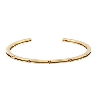 Damiani D.Side Brad Pitt Yellow Gold Brown Diamond Open Bangle Bracelet