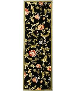 Safavieh Hand-hooked Garden of Eden Black Wool Runner (2'6 x 6') - Thumbnail 0