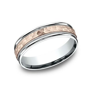 Men S 14K Two Tone Rose White Gold Hammered Finish Comfort Fit Wedding Band With Milgrain