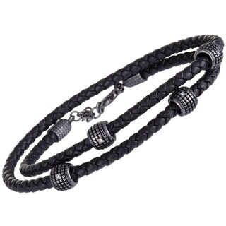 Damiani Metropolitan Black Gold 2 Diamonds Black Leather Braided Double Bracelet