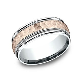 Men S 8mm 14K Two Tone Rose White Gold Hammered Finish Comfort Fit Wedding Band With Milgrain