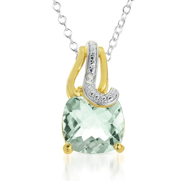 4.15 Carat Cushion Cut Green Amethyst and Diamond Pendant in 18K Gold Plated Sterling Silver. Opens flyout.