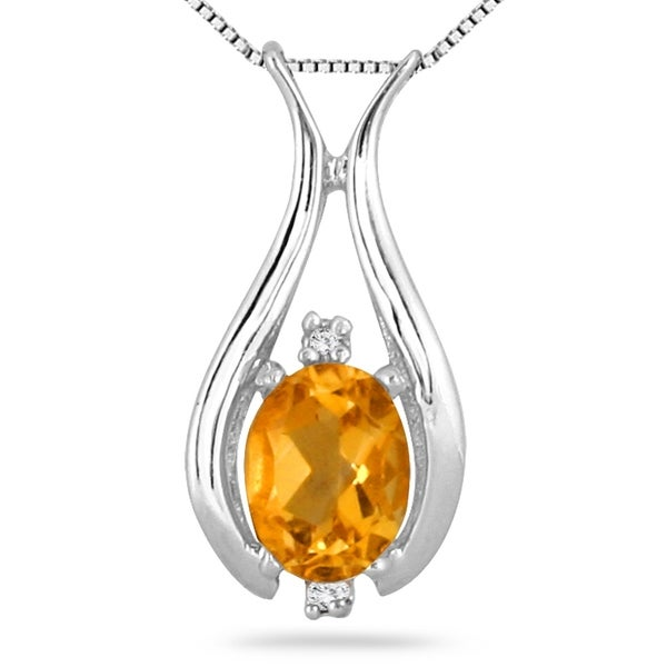 Shop 115 carat oval citrine and diamond pendant in 925 sterling 115 carat oval citrine and diamond pendant in 925 sterling silver aloadofball Images