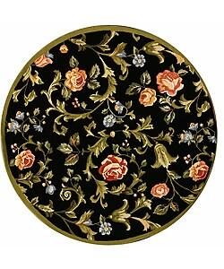 Safavieh Hand-hooked Garden of Eden Black Wool Rug (5'6 Round)