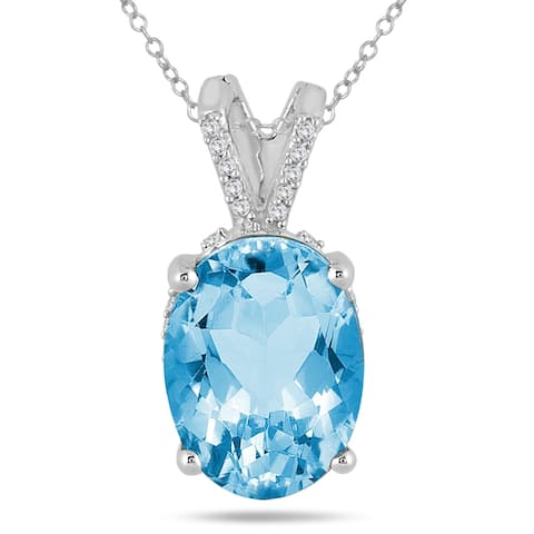 7 Carat Oval Blue Topaz and Diamond Engraved Pendant in 10K White Gold