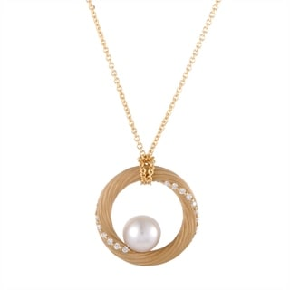 Mikimoto Yellow Gold Diamond And 9 0 9 5mm Akoya Pearl Circle Pendant Necklace