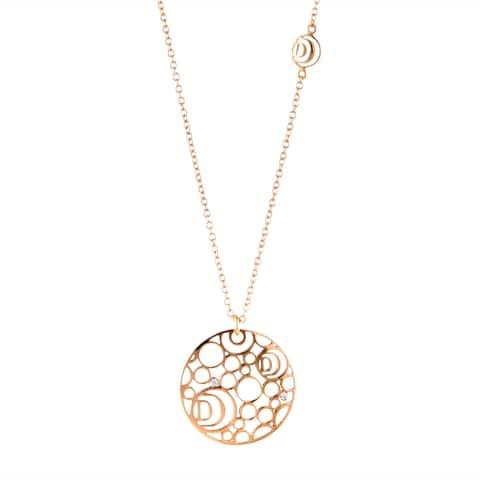 Damiani Damianissima Rose Gold Diamond Openwork Disk Pendant Necklace