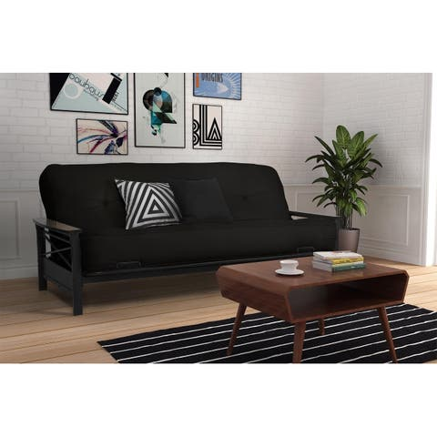DHP Nadine Black Futon Frame and 8 inch Mattress Set