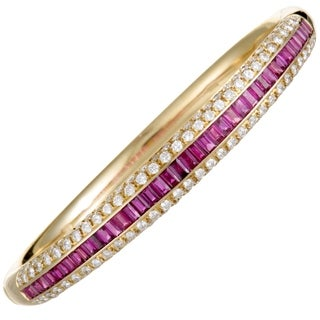 Damiani Yellow Gold Diamond Pave and Ruby Baguettes Bangle Bracelet