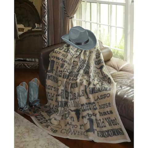 IBENA Wild West Fonts Rodeo Throw Blanket