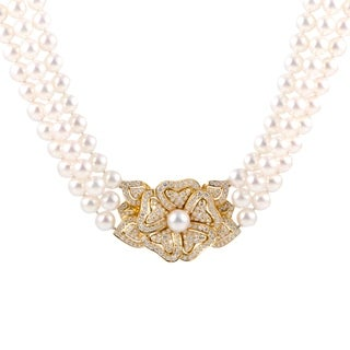 Mikimoto Yellow Gold Diamond Flower Pendant and 7.7mm Pearl Collar Necklace