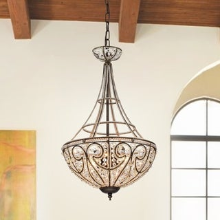 Gaspard Gold 4-Light Pendant with Crystal Shade