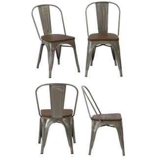 Industrial Wood Antique Gun Metal Rustic Distressed Dining Chairs