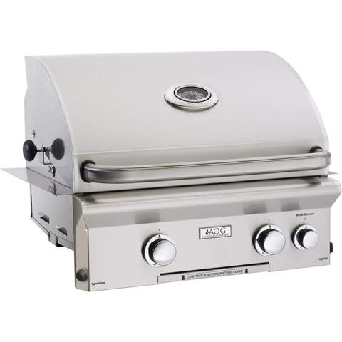 American Outdoor Grill 24NBL 24 Inch Built-in Gas Grill With Rotisserie Backburner, and Rotisserie Kit.