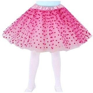 Girls Tutu Layered Tulle Hearts Princess Birthday Party Tutu Skirt,Pink