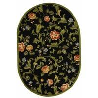 """Safavieh Hand-hooked Garden of Eden Black Wool Rug - 4'6"""" x 6'6"""" Oval"""