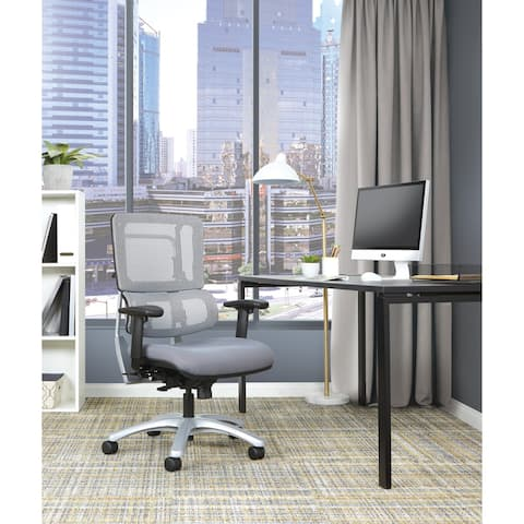 Upholstered Vertical Grey Mesh Chair with Silver Base
