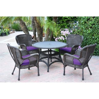 5pc Windsor Espresso Wicker Dining Set with Cushions