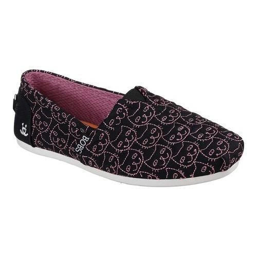 Women's Skechers BOBS Plush Cats Meow Alpargata Black/Pink