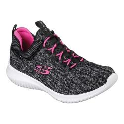 Girls' Skechers Ultra Flex Bright Horizon Sneaker Black/Hot Pink