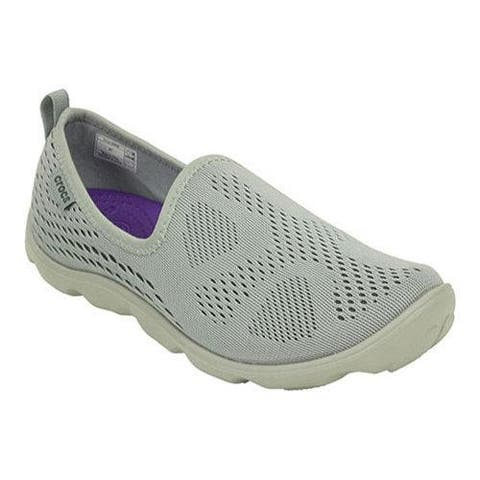 Crocs Women Duet Busy Day Xpress Mesh Skimmer Shoes, Light Grey/Graphite