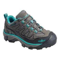 Women's Nautilus N2268 Steel Toe Waterproof Work Shoe Grey/Aqua Action Nubuck Leather/Microfiber Suede