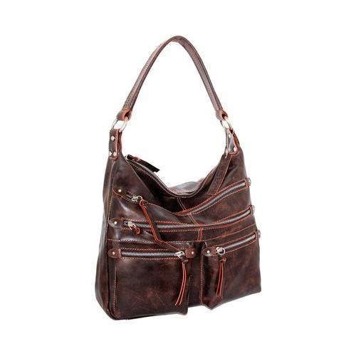 Women X27 S Nino Bossi Heather Leather Hobo Handbag Chocolate Orange