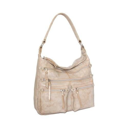 Women X27 S Nino Bossi Heather Leather Hobo Handbag White Beige