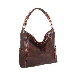 Women's Nino Bossi Indira Leather Hobo Handbag Chocolate/Orange