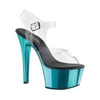 Women's Pleaser Aspire 608 Ankle-Strap Sandal Clear PVC/Turquoise Chrome