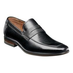 Men's Florsheim Postino Moc Toe Penny Loafer Black Smooth Leather/Perf