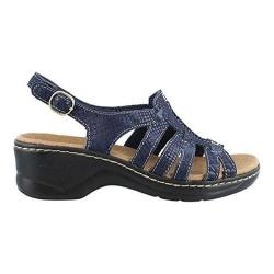 Women's Clarks Lexi Marigold Quarter Strap Sandal Blue Multi Leather