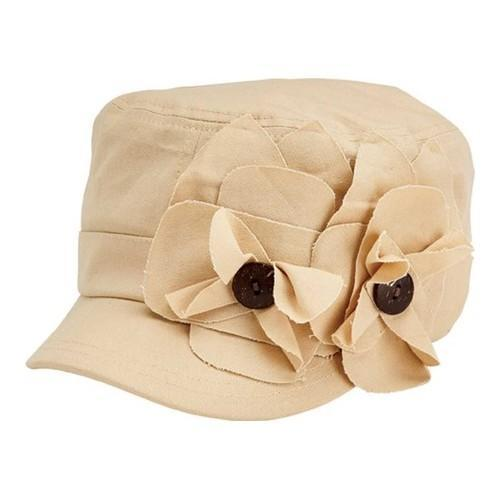 f5ad6e370afe9 Shop Women's San Diego Hat Company Cadet Cap with 2 Raw Edge Flowers  CTH4170 Khaki - Free Shipping On Orders Over $45 - Overstock.com - 19473785