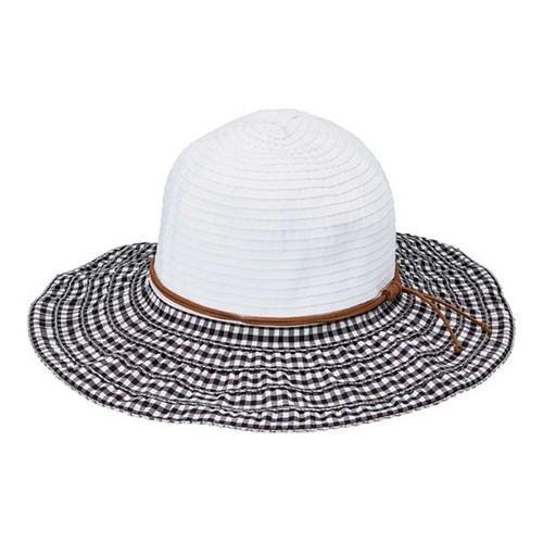 7848438ee9c Thumbnail Women  x27 s San Diego Hat Company Gingham Brim Ribbon Sun Hat  RBL4821