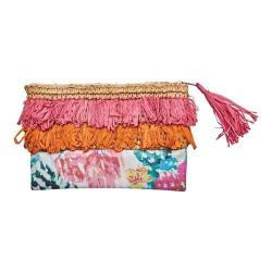 Women's San Diego Hat Company Clutch with Fringe and Flower Print BSB1718 Pink