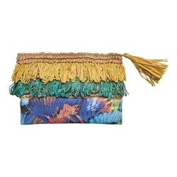 Women's San Diego Hat Company Clutch with Fringe and Flower Print BSB1718 Yellow