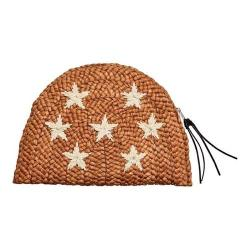 Women's San Diego Hat Company Cornhusk Clutch with Embroidered Stars BSB1722 Brown