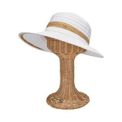 Women's San Diego Hat Company Face Saver Wide Brim Hat with Raffia Inset RBL4820 White