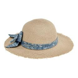 Children's San Diego Hat Company Paisley Print Bow Fray Edge Sun Brim Hat PBK6527 Natural