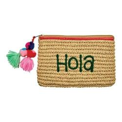 Women's San Diego Hat Company Paper Clutch with Embroidery BSB1721 Natural