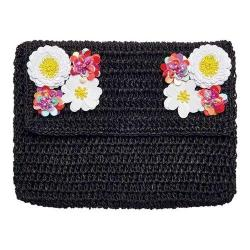 Women's San Diego Hat Company Paper Clutch with Flower Detail On Flap BSB1731 Black
