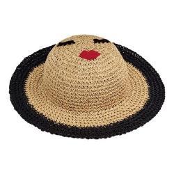 Children's San Diego Hat Company Paper Crochet Sun Brim Hat with Face Patch PBK6533 Natural Black