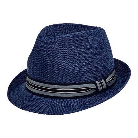 Men's San Diego Hat Company Striped Grosgrain Knitted Paper Fedora PBF7327 Navy
