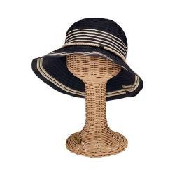 Women's San Diego Hat Company Ribbon Bucket Hat with Stripe Inset RBM5570 Black