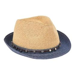 Women's San Diego Hat Company Ultrabraid Fedora with Star Trim UBF1099 Navy
