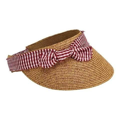 88c32abf39b18 Women s San Diego Hat Company Visor with Chambray Trim Bow UBV048 Red