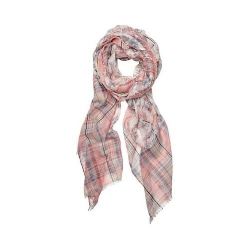 Women's San Diego Hat Company Woven Floral Scarf with Checker BSS1724 Pink