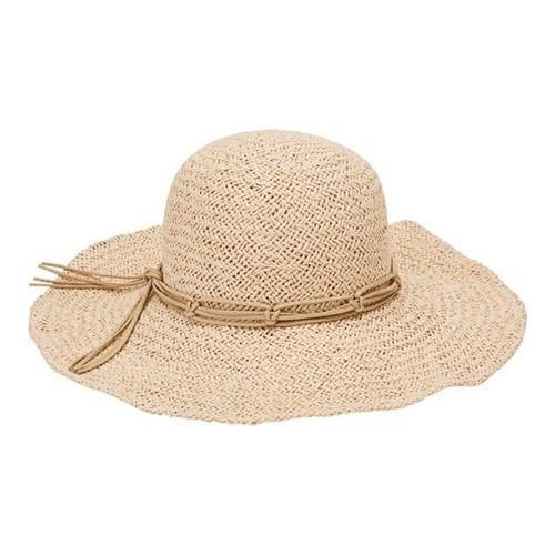 Women  x27 s San Diego Hat Company Woven Paper Floppy Hat with Macrame Trim fe8b06e76704