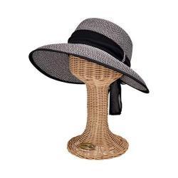 Women's San Diego Hat Company Ultrabraid Scarf Face Saver Sun Hat UBM4480 Black/White Mix