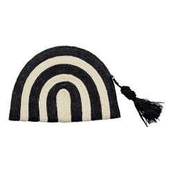 Women's San Diego Hat Company Wheatstraw Clutch Stripe with Tassel BSB1723 Black